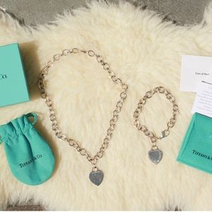 *PAIR* Tiffany Heart Tag Bracelet Necklace Silver